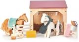 Set figurine Grajd cu cai, din lemn premium, Tender Leaf Toys