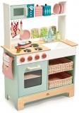 Bucatarie si cuptor cu microunde, din lemn premium, Mini Chef Kitchen Range Tender Leaf Toys