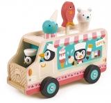 Furgoneta cu inghetata, din lemn premium, Penguins Gelato Van Tender Leaf Toys