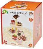 Prajituri de ciocolata din lemn premium, Chocolate Bonbons, 9 piese, Tender Leaf Toys