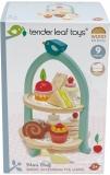 Set de joaca Stand pentru prajituri din lemn premium, 9 piese, Mini Chef Birdie, Tender Leaf Toys