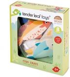 Set de joaca Produse din peste si fructe de mare din lemn premium, 8 piese, Fish Crate, Tender Leaf Toys