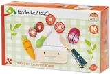 Set de joaca Tocator si legume din lemn premium, 16 piese, Mini Chef Chopping Board, Tender Leaf Toys