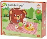 Set de joaca Picnic din lemn premium, 14 piese, Little Bear's Picnic, Tender Leaf Toys
