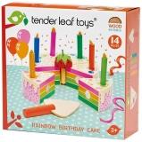 Set de joaca Tort pentru aniversari din lemn premium Curcubeu, 14 piese, Tender Leaf Toys