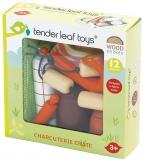 Set de joaca Preparate din carne, din lemn premium, 12 piese, Charcuterie Crate, Tender Leaf Toys