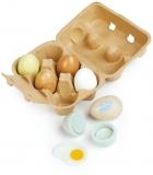 Set de joaca Oua din lemn premium, 7 piese, Wooden Eggs, Tender Leaf Toys