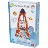 Set de joaca Racheta cu astronauti din lemn premium, 11 piese, Cosmic Rocket, Tender Leaf Toys