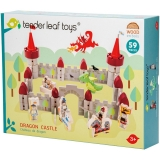 Set de joaca, Castelul dragonului din lemn premium, 59 piese, Tender Leaf Toys