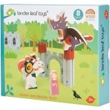 Set de joaca Printesa, Cavaler si Dragonul din lemn premium, 8 piese, Tender Leaf Toys