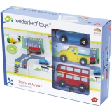 Set de joaca Circuit vehicule de oras din lemn premium, 4 piese, Tender Leaf Toys