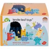 Set de joaca Monstruletii din saculet, din lemn premium, 7 piese, Tender Leaf Toys