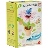 Set de joaca Floare in ghiveci din lemn premium, 15 piese, Tender Leaf Toys