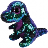 Jucarie plus 15 cm Beanie Boos Flippables CRUNCH - purple-green dinosaur TY