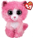 Jucarie plus 15 cm Beanie Boos Reagan pink cat with curly hair TY