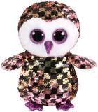 Jucarie plus 15 cm Beanie Boos Flippables Checks Black/Pink/Gold Owl TY