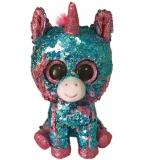 Jucarie plus 24 cm Beanie Boos Flippables Celeste Aqua-Pink Unicorn TY