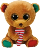 Jucarie plus 24 cm Beanie Boos BELLA - brown bear with candy cane TY