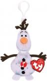 Jucarie plus cu breloc si sunete, 8.5 cm, Beanie Babies Frozen 2 Olaf Snowman TY