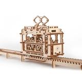 Puzzle 3D, lemn, mecanic Tramvai, 154 piese, Ugears