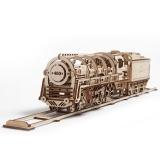 Puzzle 3D, lemn, mecanic Locomotiva cu abur, 443 piese, Ugears