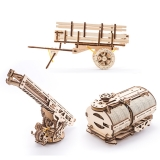 Puzzle 3D, lemn, mecanic Atasamente pentru camion 322 piese, Ugears