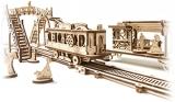 Puzzle 3D, lemn, mecanic Tramvai cu statie, 284 piese, Ugears
