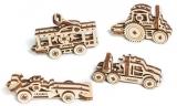 Puzzle 3D, lemn, mecanic U-Fidget Masini 14-18 piese, 4 buc/set Ugears