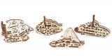 Puzzle 3D, lemn, mecanic U-Fidget Vapoare, 13-19 piese, 4 buc/set Ugears