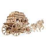 Puzzle 3D, lemn, mecanic Trasura cu cai, 248 piese, Ugears