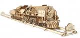 Puzzle 3D, lemn, mecanic Tren V-Express cu aburi, 538 piese, Ugears