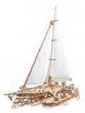 Puzzle 3D, lemn, mecanic Barca Trimaran, 237 piese, Ugears