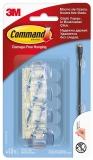 Carlig rotund transparent organizare cabluri 4 carlige + 5 benzi dublu adezive/pachet Command 3M