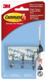 Carlig transparent cu tija metalica mic 3 carlige + 4 benzi dublu adezive/pachet Command 3M