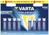 Baterie alcalina R3 (AAA), 8 buc/blister, VARTA