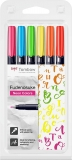 Markere caligrafice Fudenosuke Hard, 6 culori/set, Tombow