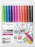 Markere TwinTone 12 culori brights Tombow