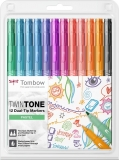 Markere TwinTone 12 culori pastel Tombow