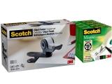 Dispenser banda adeziva Clip and Twist, gri carbune si 4 benzi adezive Magic Tape, Scotch 3M
