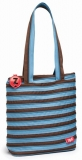 Geanta de umar 28 cm premium tote bag albastru cu fermoar maro Zipit