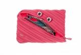 Penar cu fermoar, Grillz Monster Jumbo, culoare roz cu dinti argintii Zipit