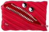 Penar cu fermoar, Grillz Monster Jumbo, culoare rosu cu dinti argintii Zipit
