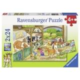 Puzzle o zi la ferma, 2x24 piese Ravensburger