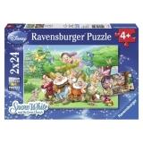 Puzzle cei sapte pitici, 2x24 piese Ravensburger