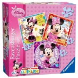 Puzzle Minnie Mouse, 3 buc in cutie, 25/36/49 piese Ravensburger