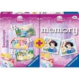 Puzzle + joc memory Printesele Disney, 3 buc in cutie 15/20/25 piese Ravensburger
