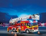 Masina de pompieri cu scara cu lumini si sunete Fire Brigade Playmobil