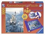 Puzzle castelul Neuschwanstein iarna 1000 piese + suport de puzzle Ravensburger