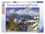 Puzzle castelul Neuschwanstein iarna, 3000 piese Ravensburger