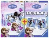 Puzzle + joc memory Frozen 3 buc in cutie 25/36/49 piese Ravensburger